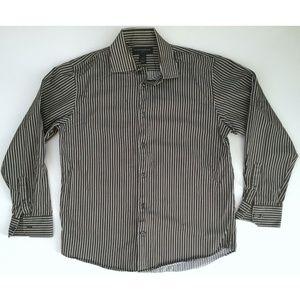 BANANA REPUBLIC White Gray Striped Button Shirt M